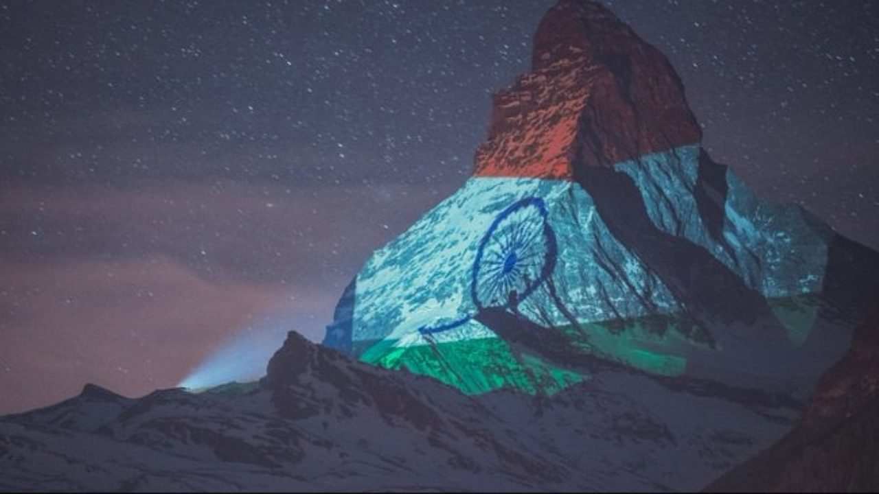 India's Flag Projected On Might Matterhorn In Switzerland To Spread Hope