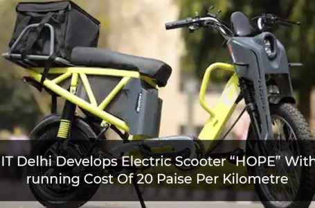 "IIT Delhi Develops Electric Scooter ""HOPE"" With running Cost Of 20 Paise Per Kilometre"